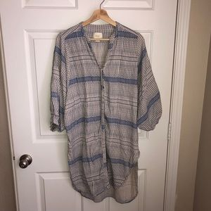 Anthropologie Maeve Indian Block Print Long  Top